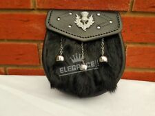 Kilt Sporran Thistle Crest Black Rabbit Fur 3 Tassels Chrome Embossed Sporrans
