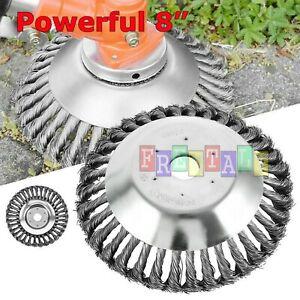 """8"""" INDESTRUCTIBLE TRIMMER Garden Grass Trimmer Head Weed Brush Steel Wire Wheel"""