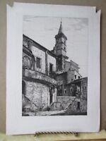 Vintage Print,Fine Engraving, EUROPEAN BELL TOWER,Artist Monogram BJ