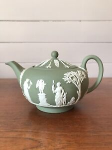 Vintage Wedgwood Jasperware Sage Green Large Teapot Made In England AF