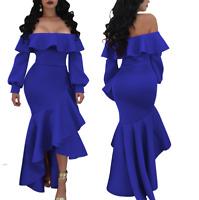 Women Long Sleeve Bodycon Ruffled Club Party Evening Prom Ball Long Dress Strap
