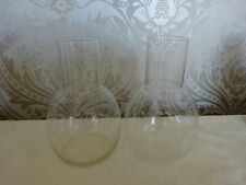Modern Art Glass Pair of  Delicate Etched Floral Vases 20cm Tall