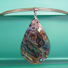 "2"" Natural Abalone Paua Shell Teardrop Handmade Pendant 925 Sterling Silver"