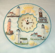 "Lighthouses 3D Wall Clock, Polystone 8"" Round ~ Kitchen, Nursery, Bedroom, Patio"