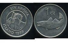 ISLANDE  1 krona  1989  ANM