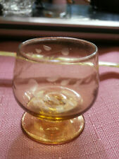 Vintage Amber Mini Miniature Etched Glass Brandy Sniffer Shot Glass