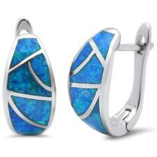 .925 Sterling Silver Earring Blue Fire Opal Hoop