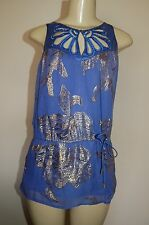 NWT Women's Be Seduced Blue Silk Gold Embellished Sequin Top Size 6 Very Nice FS