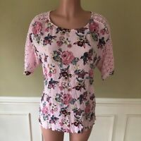 Daniel Rainn Womens Top Short Sleeve Pink Floral Lace Size L