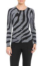 Escada Women's Santira Virgin Wool Zebra Cardigan Sweater Swarovski L NWT $1195