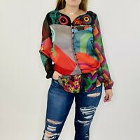 Desigual Sheer Peplum Long Sleeve Abstract Button Front Blouse Small Womens