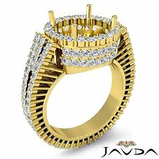 Halo Prong Set Round Diamond Engagement Semi-mount Ring in 18k Yellow Gold