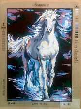 "Needlepoint tapestry canvas.Horse 45x60cm (17.5x23.5"") Gobelin 14.767"