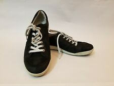 ECCO Men's Black Soft Leather Sneakers | Sz 41 US 10-10.5 | Casual Retro Shoes