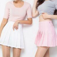 Women Girls Mini Skirt High Waist Tennis Short Dress Plain Skater Flare Pleated