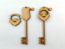6 x MDF Wooden Santa's Magic Key Shape, Magic Santa Keys / Christmas Craft blank