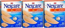 Nexcare Active Bandages ASSORTED BOX Waterproof Cushioned 30ct ( 3 boxes )