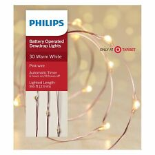 Philips 30ct Christmas LED Dewdrop Lights Battery Operated Warm White Pink Wire