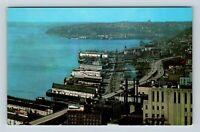 Seattle WA, Harbor Freeway, Aerial View, Boat, Chrome Washington Postcard
