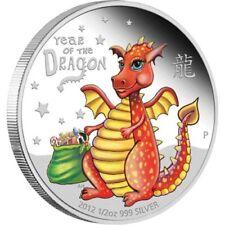 50 Cent Lunar Jahr des Drache Baby Dragon Tuvalu 1/2 oz Silber 2012 PP