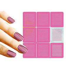 9 Tips/Sheet Nail Vinyls Wavy Stripes Nail Art Stencils Manicure Stickers L110