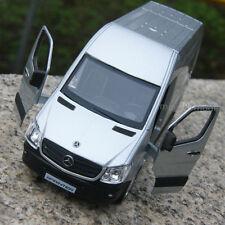 """Mercedes Benz Sprinter Van 5"""" Silver Alloy Diecast model car Open three door Toy"""