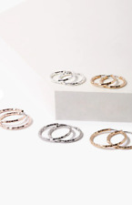 Small Etched Hoops, Silver, Rose Gold New Forever 21 Earrings, Set of 4 Pairs of