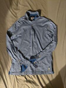 Psycho Bunny Long Sleeve Blue Heathered Polo Pima Cotton Size 4 Small EUC