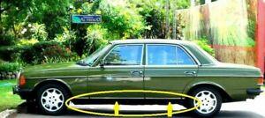 Mercedes Benz W123 Sedan 4 Doors CHROME Lower Side Molding Trim Set 8 Pcs