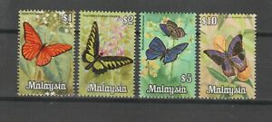 s38417 MALAYSIA 1970 MNH** Butterflies High values 4v SC#70/73 $1 $2 $5 $10