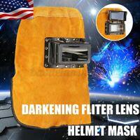 Leather Welding Hood Welder Helmet Mask Darkening Filter Lens Head Cap Protect