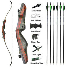 """62"""" Takedown Recurve Bow 20-50lbs Wooden Carbon Arrows Archery Hunting Shooting"""