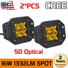 """2X16W 5D  LED Cubic Pods Light Flush Mount Fog Lamps Amber Yellow 3""""in 4WD Truck"""