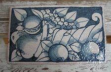 Vintage Italian Fortunata Fruit Wall Art Block Ceramic Clay Tile Blues