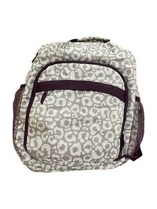 Thirty One Sling Backpack Say it Taupe Camera/ Diaper Bag Taupe & Purple Leopard