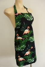 Handmade Flamingos & Tropical Leaves on Black 100% Cotton Women's Apron