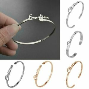Personalized Custom Name Bangle Nameplate Open Bracelet Stainless Steel Jewelry