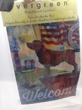 New Evergreen Decorative Garden Flag Double sided Welcome American Flag Choc Lab