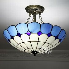 Tiffany Style Stainded Glass Lamp Shade Chandelier Blue & White Ceiling Fixture