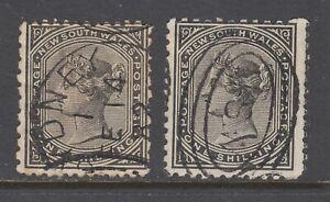 New South Wales SG 237ca perf 13x10; 237d, perf 11x12 used. 1885 1sh QV definiti