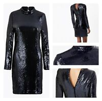 Marks and Spencer Black Sequin Bodycon Mini Long Sleeves Dress Size 18 RRP £55