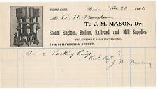 1904 JM MASON STEAM ENGINES BOILERS RAILROAD MILL SUPPLIES HAVERHILL ST BOSTON