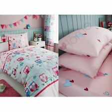OWLS HEARTS GIRLS SINGLE DUVET COVER SET + FITTED SHEET + PILLOWCASE - 4 IN 1
