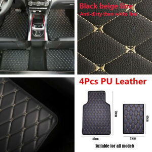4x Universal Car Floor Mat Front Rear PU Leather Carpet Protect Pad Accessories
