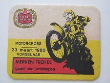 Beer Coaster: STELLA ARTOIS Brewery ~^~ 1980 Motorcross Motorcycle Merken Trofee