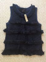 New J Crew Collection Japanese Raffia Tank Top Navy Size S C4671 $198 Sold Out!