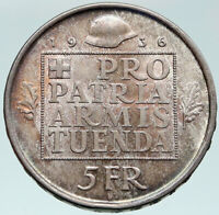 1956 SWITZERLAND -  HELVETIA SWISS Nation ARMY FUND Silver 5 Francs Coin i87469