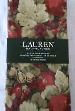 New Ralph Lauren Harvest Fruit Tan Green Red Floral Napkins 4pc