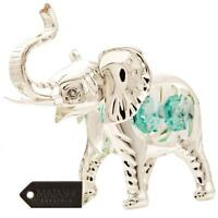 Silver Plated Elephant w/ Open Mouth Ornament Made with Genuine Matashi Crystals