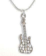 Gitarre Musik Halskette Kette Strass Schmuck Mode silberfarben Damen 45 cm